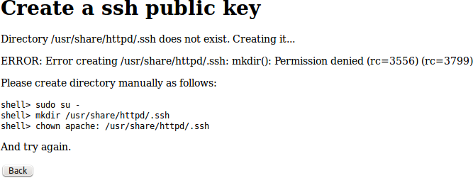 Ssh key creation leads to an error